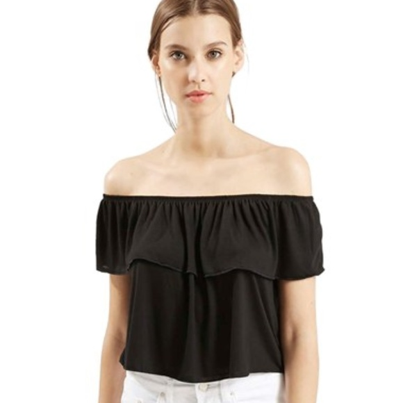 df12a20783aa6 ... Black Frill Bardot Off Shoulder Top. M 5a5c130db7f72b724f4fecff
